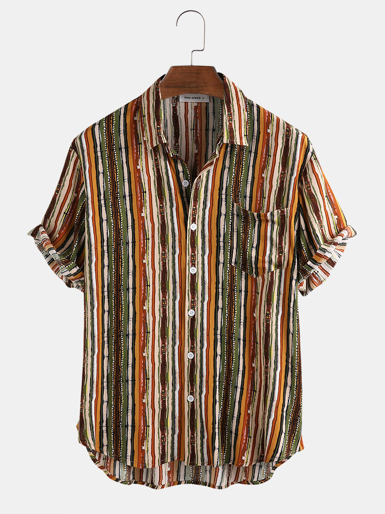 Mens Casual Cotton Striped Patch Pocket Short Sleeve Shirts
