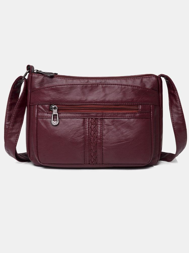 Women PU Leather Anti-theft Multi-Layers Crossbody Bag Shoulder Bag