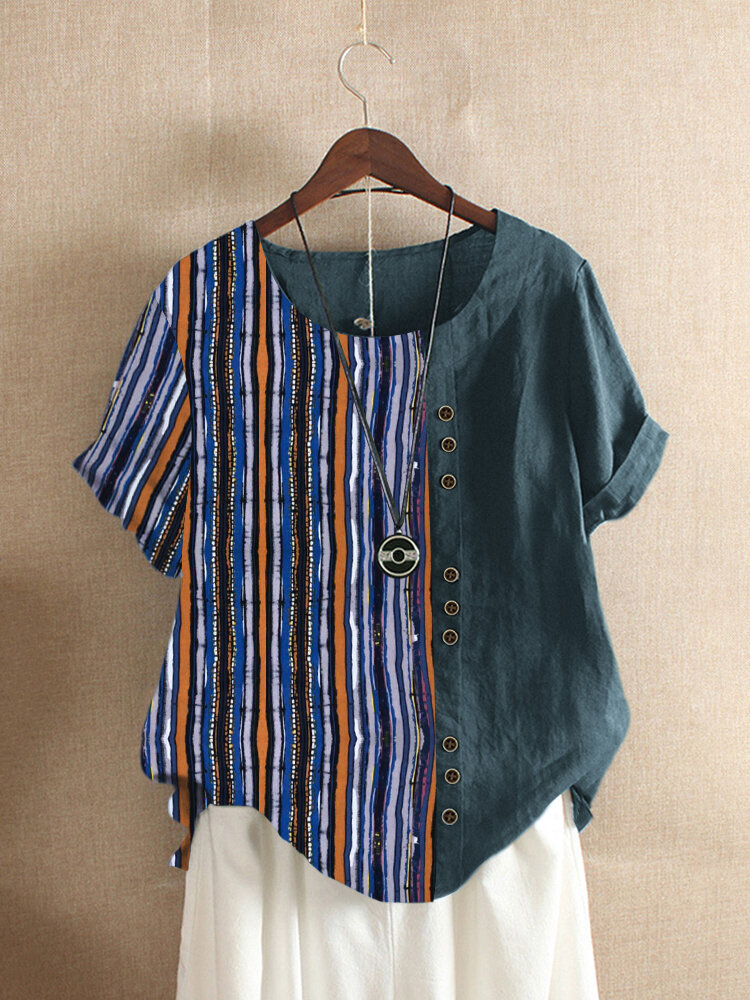Fashionable Vintage Striped Patched Short-sleeved Casual Botton Shirt Online