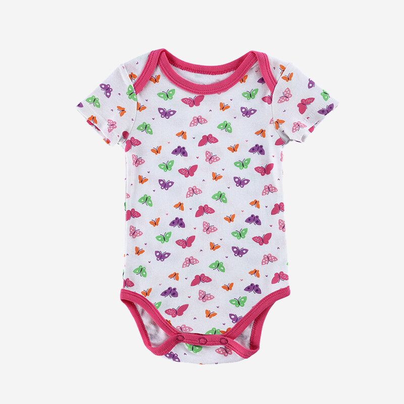 Baby Cute Butterfly Print Short Sleeves Casual Rompers For 0-12M