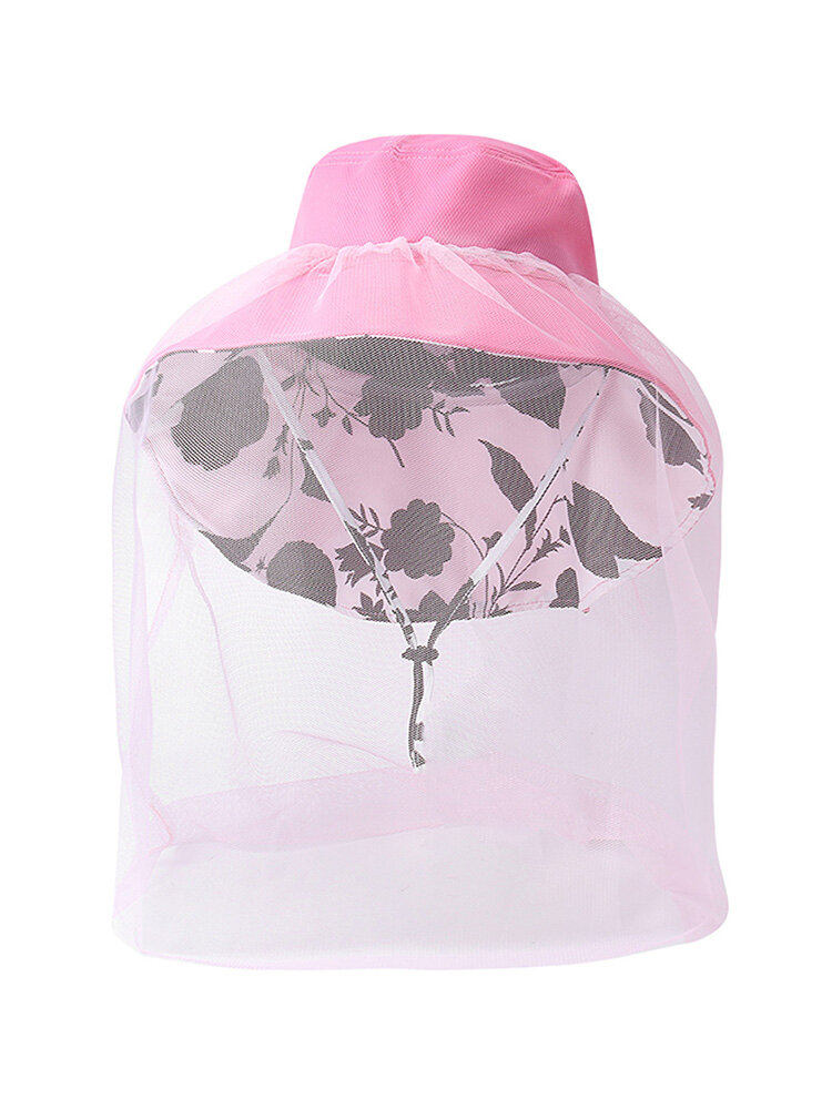 Women Summer Sunscreen Bucket Hat Outdoor Casual Anti-mosquito Hat With String And Gauze