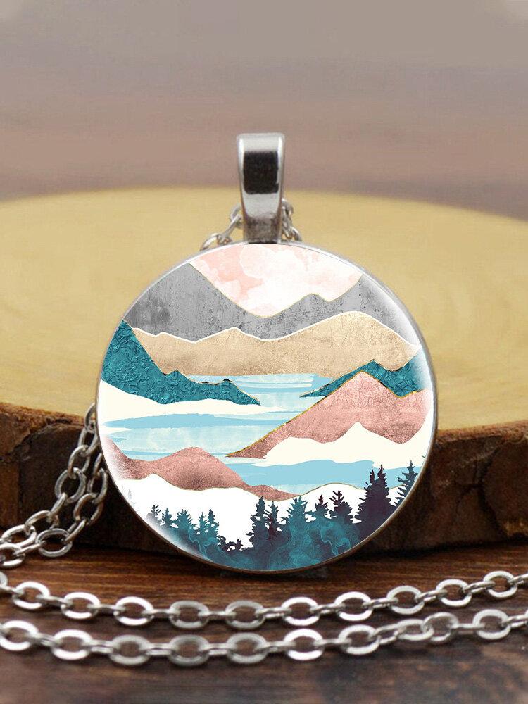 Trendy Metal Round Natural Landscape Print Glass Pendant Necklace