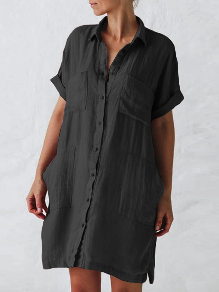 Solid Color Lapel Collar Button Shirt Dress With Pocket