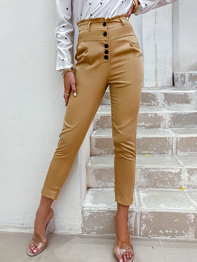 Solid Color Ruffle Button Pocket High Waist Bodycon Casual Pants