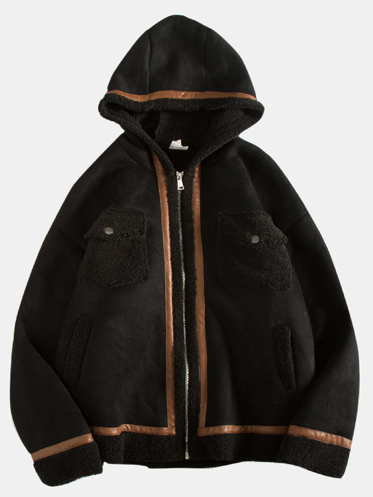 Mens Faux Suede Sherpa Lined Warm Hooded Overcoats With Pocket