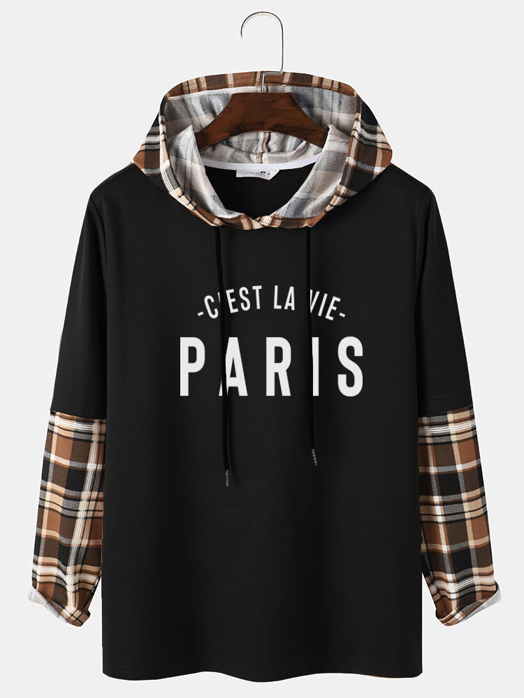 Mens Plaid Patchwork Letter Print Long Sleeve Preppy Hooded T-Shirts