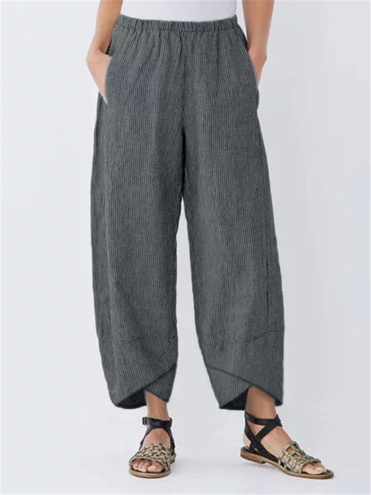 Striped Elastic Waist Split Capris Pants For Women