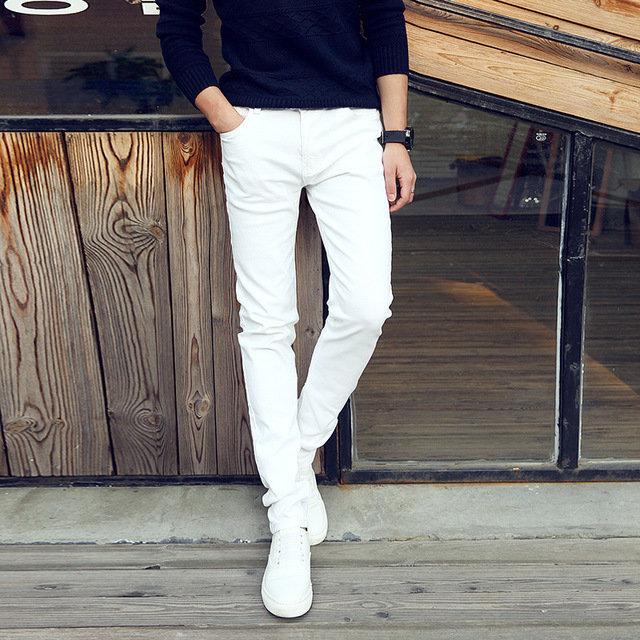 Association Association Youth Business White Jeans Men's White Pants Slim Stretch Men's Pants Tights Large Size White