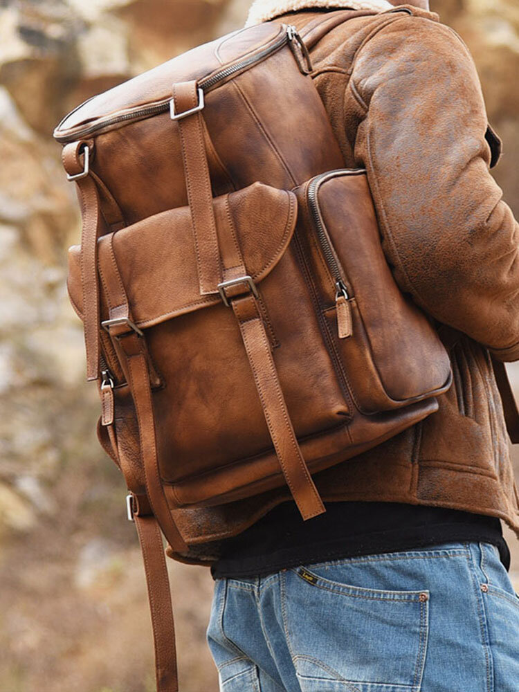 Hombre Cuero de PU vendimia Mochila de viaje sólida con múltiples bolsillos Bolsa