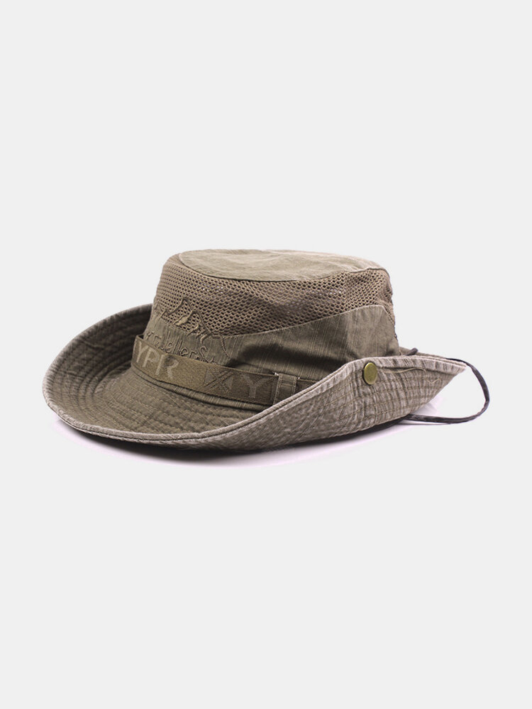 Mens Womans Cotton Embroidery Visor Bucket  Fisherman Hat Foldable Breathable Adjustable Chin Strap