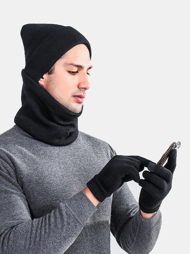 Men Winter Solid Woolen Blending Winter Outdoor Ski Travel Warm Hat Scarf Gloves Suit
