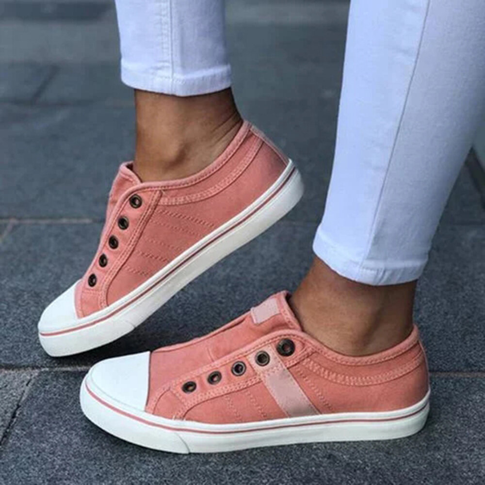 Women Large Size Canvas Casual Comfy Low Top Flats