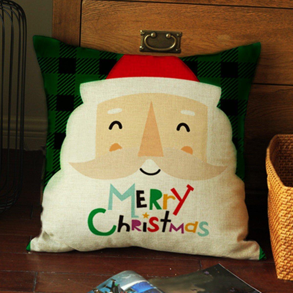क्रिसमस लिनन कॉटन थ्रो पिलो केस होम सोफा कार स्क्वायर कुशन कवर