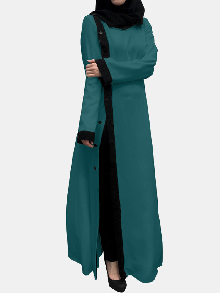 Solid Color Patchwork Contrast Long Sleeve Button Dress