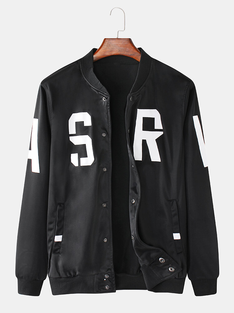 Mens Letter Print Loose Stylish Casual Varsity Jacket With Snap-Button