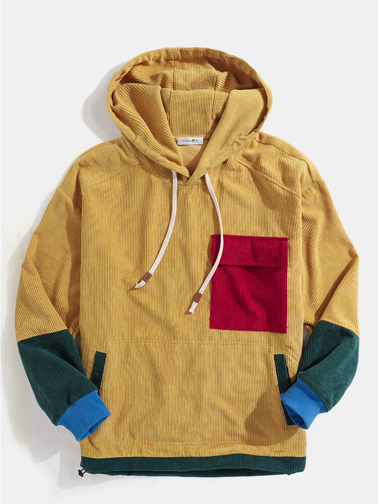 Mens Vintage Patchwork Corduroy Drawstring Hoodies With Flap Pocket