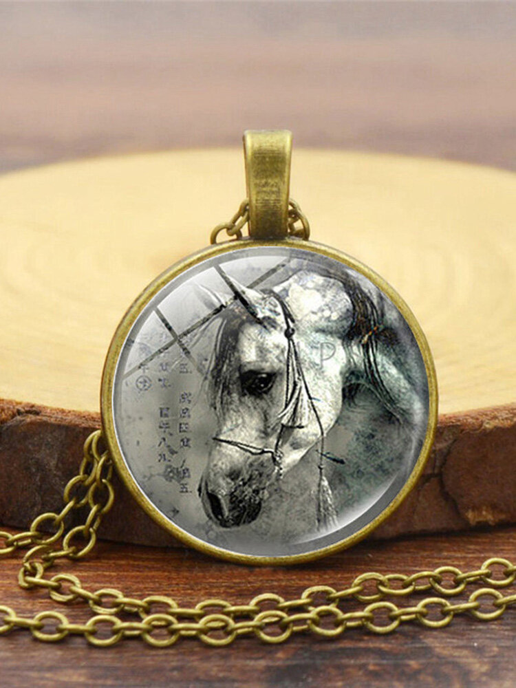 Vintage Glass Printed Women Necklace Horse Head Pendant Sweater Chain Jewelry Gift