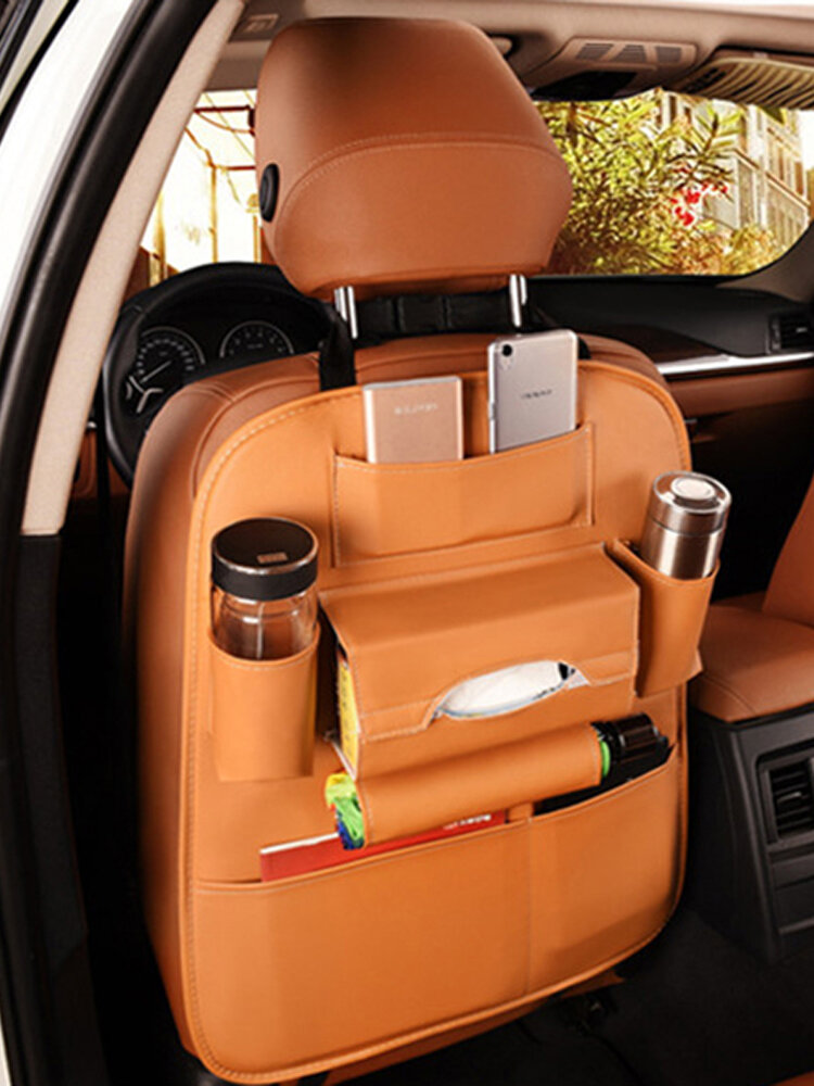 Leather Car Storage Bag Multi-compartment Car Seat Storage Container Outdoors Bag Car Seat Organizer