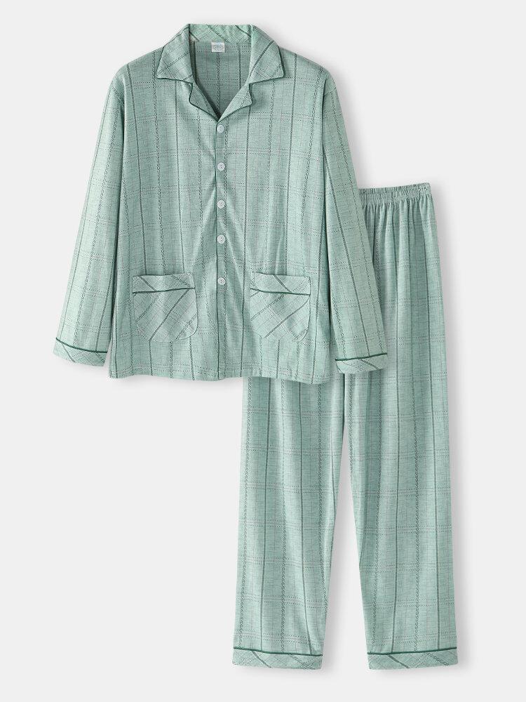 Green Striped Soft Long Sleeve Lapel Two Piece Lounge House Pajamas Sets