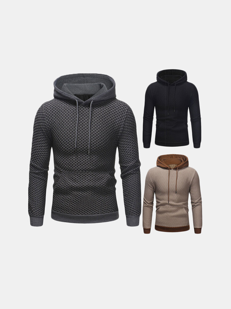 Casual Pullover Stitching Color Long Sleeve Plaid Hooded Sweatshirt for Men