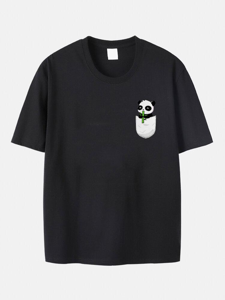 Plus Size Mens Cute Cartoon Pocket Panda Pattern 100% Cotton Casual T-Shirt