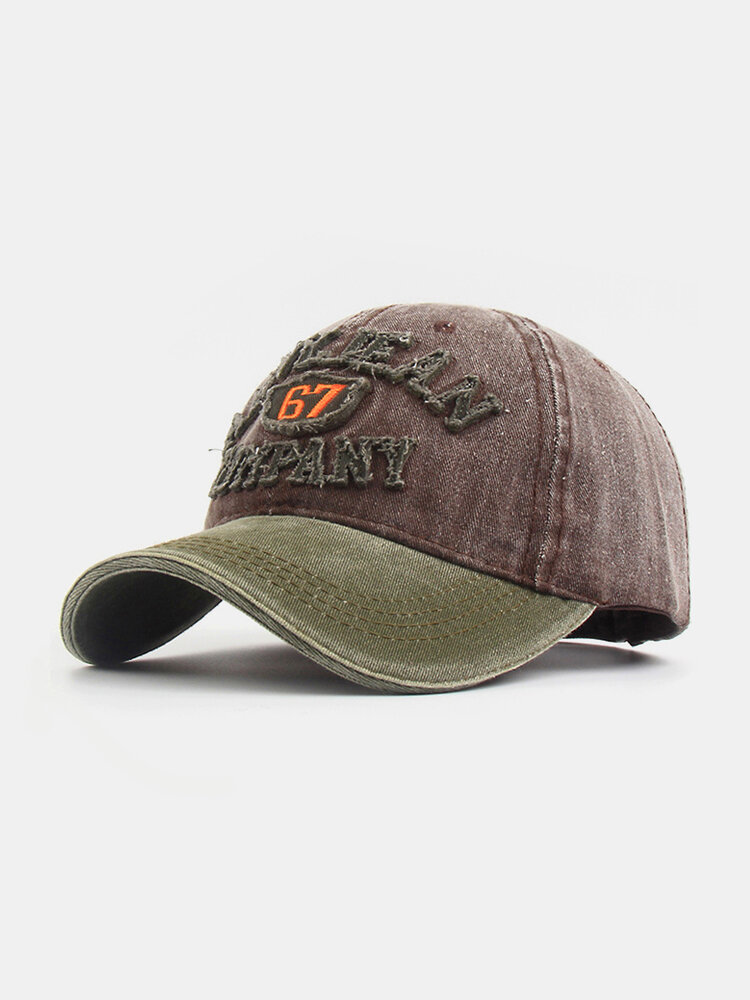 Men Washed Cotton Letter Pattern Patch Baseball Cap Outdoor Sunshade Adjustable Hats