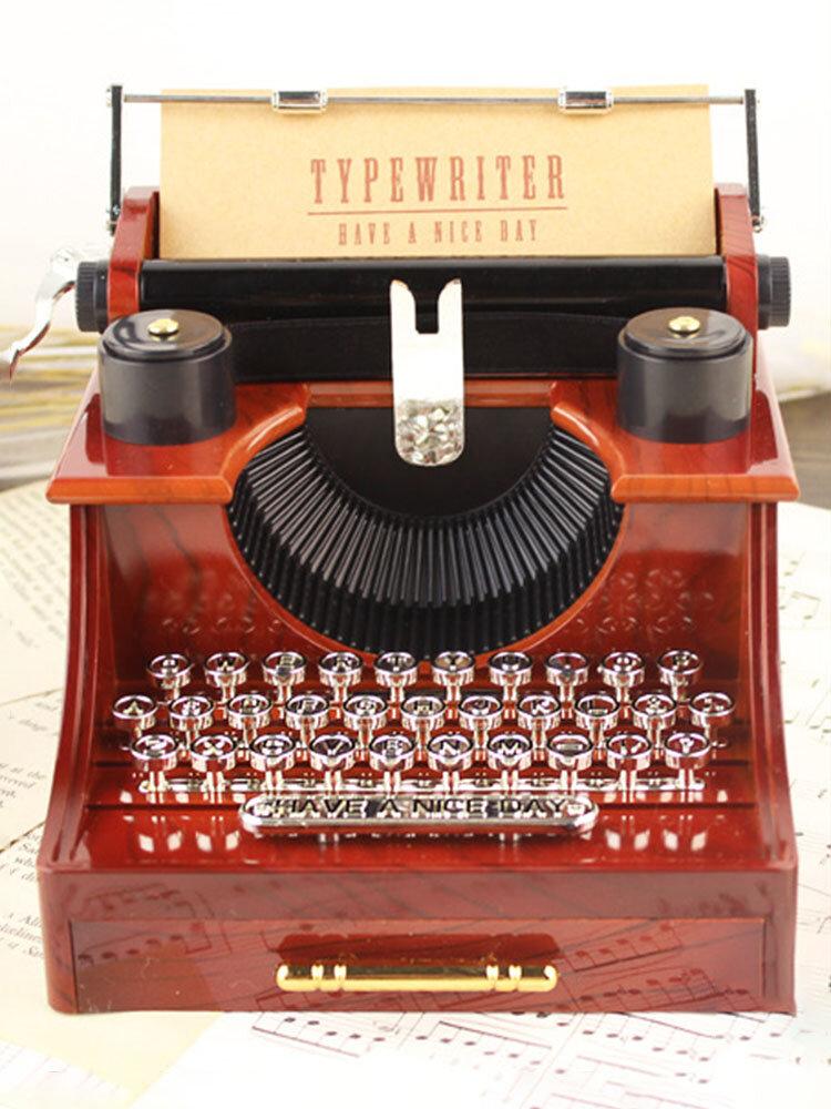 Mother's Day Vintage Nostalgic Typewriter Clockwork Music Box Decoration Gift