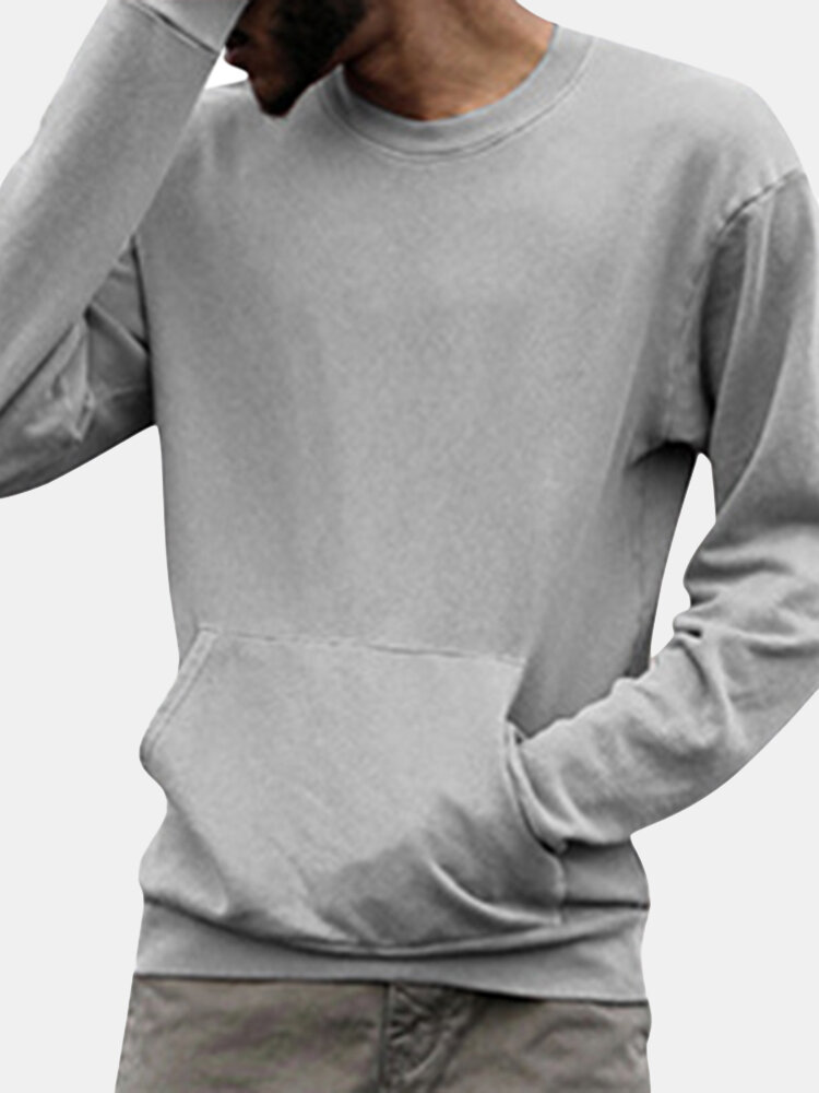 Mens Casual Breathable Crew Big Front Pocket Long Sleeve Solid Color T Shirt