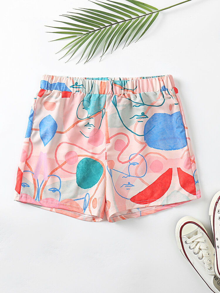 Plus Size Women Face Line Print Elastic Waist Home Pajamas Shorts