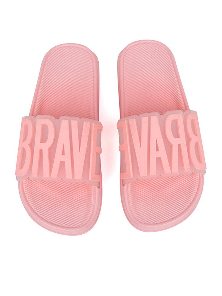 Mujer Inicio Moda Lettern Patrón Comfy Antideslizante Soft Casual Cuarto de baño zapatillas