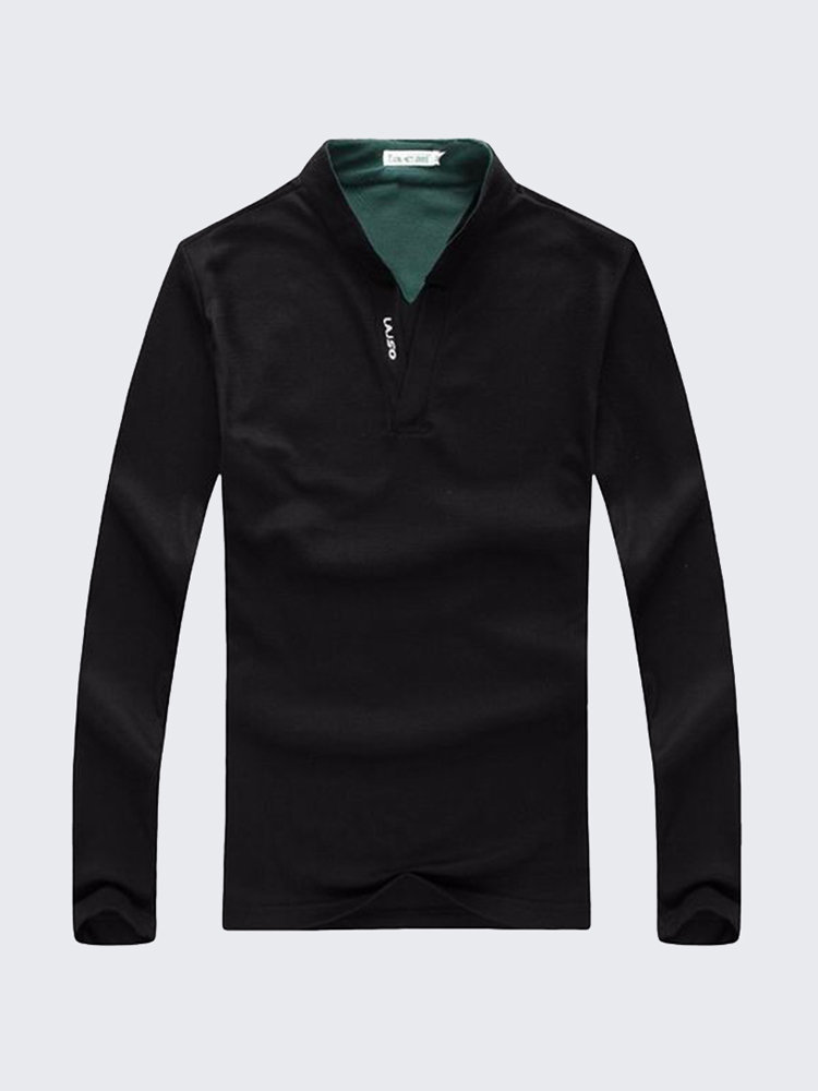 6 Colors Mens Sports Solid Color Long Sleeved Casual Cotton Golf Shirts