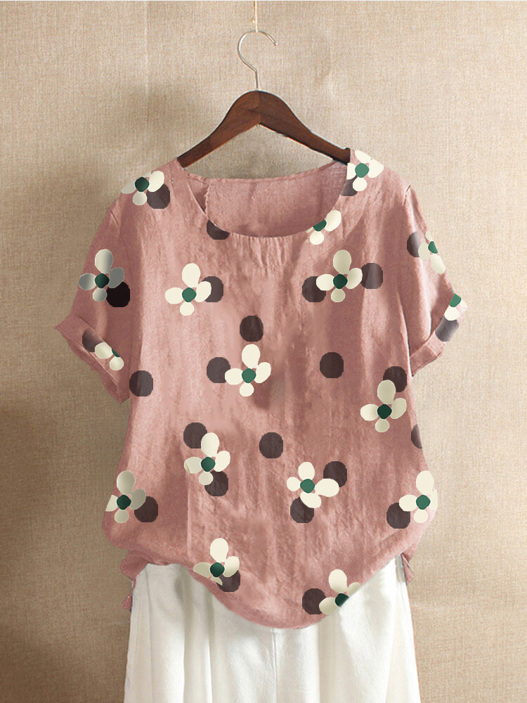 Floral Printed O-Neck Short Sleeve Cotton T-shirt