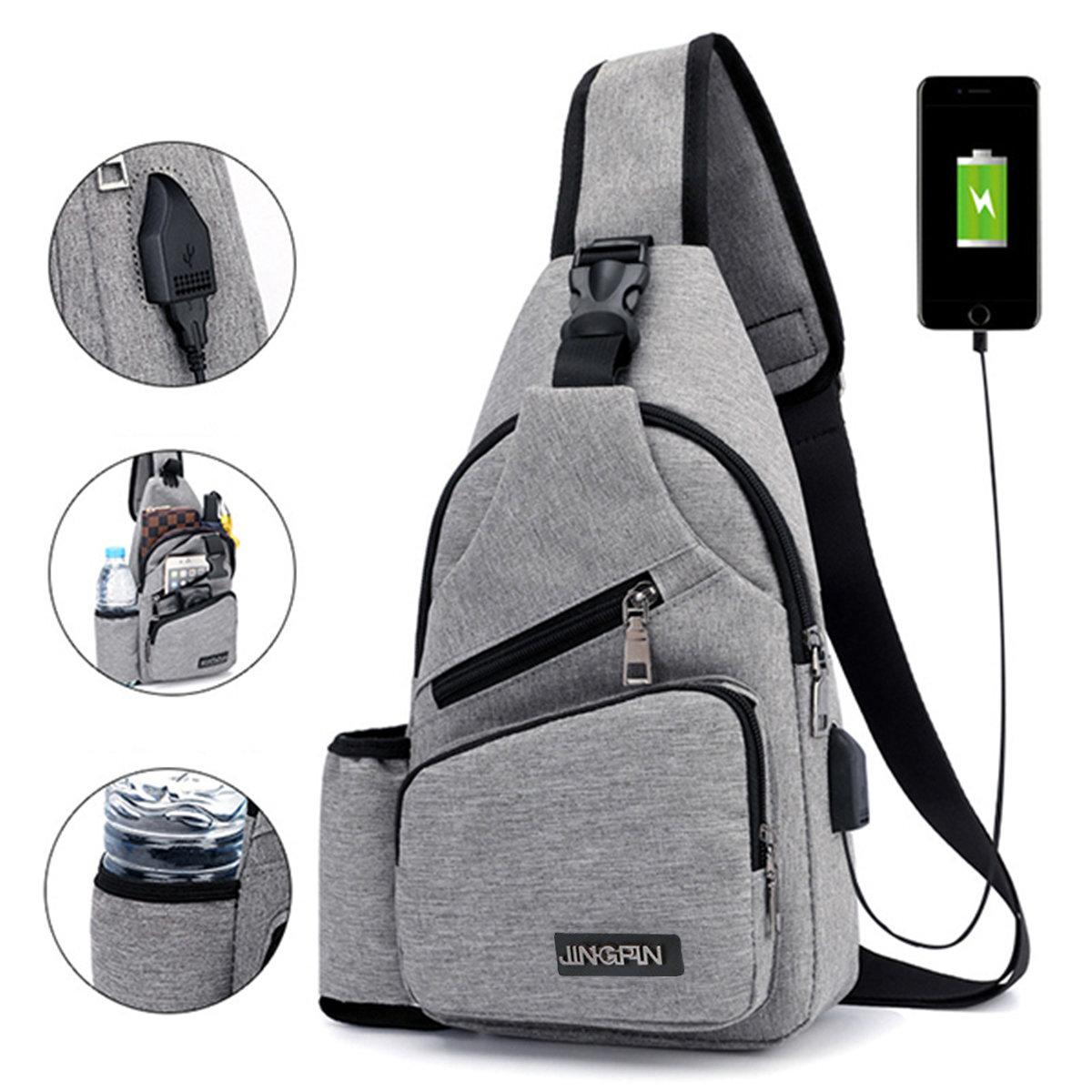 9069d79b4124 Large Capacity Casual Outdoor Travel USB Charging Port Sling Bag Chest Bag  Crossbody Bag