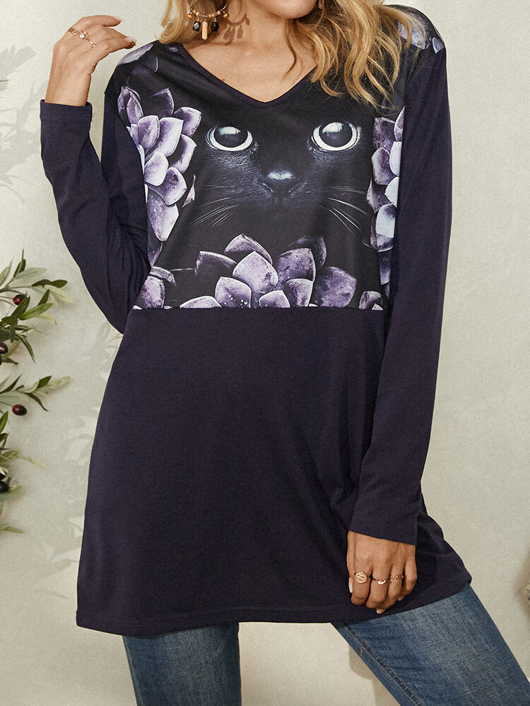 Forest Cat Print Patchwork V-neck Plus Size Casual T-shirt