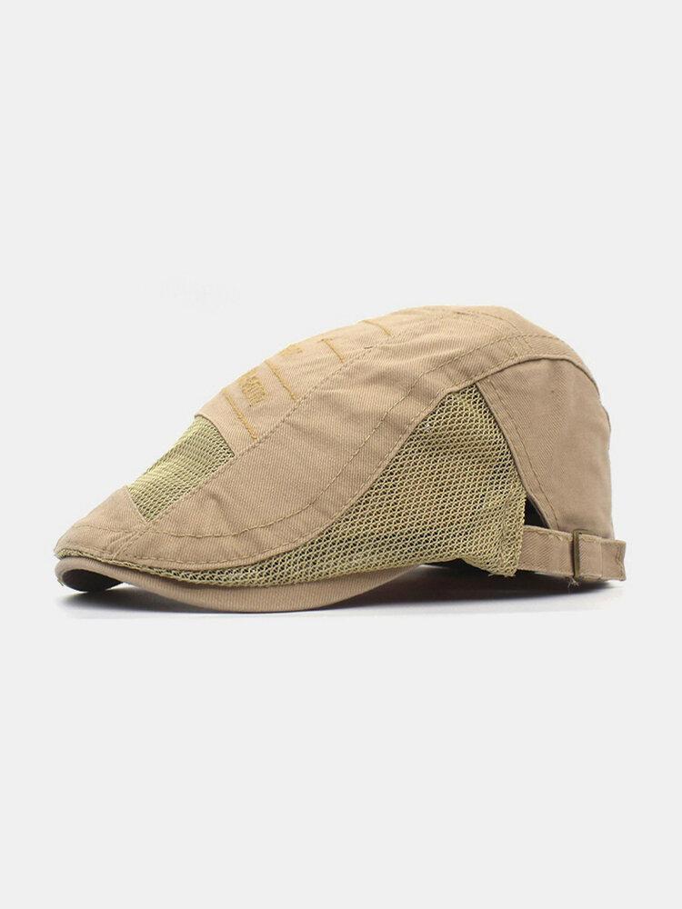 Men Cotton Letter Embroidery Mesh Breathable Adjustable Flat Hat Beret Hat Forward Hat