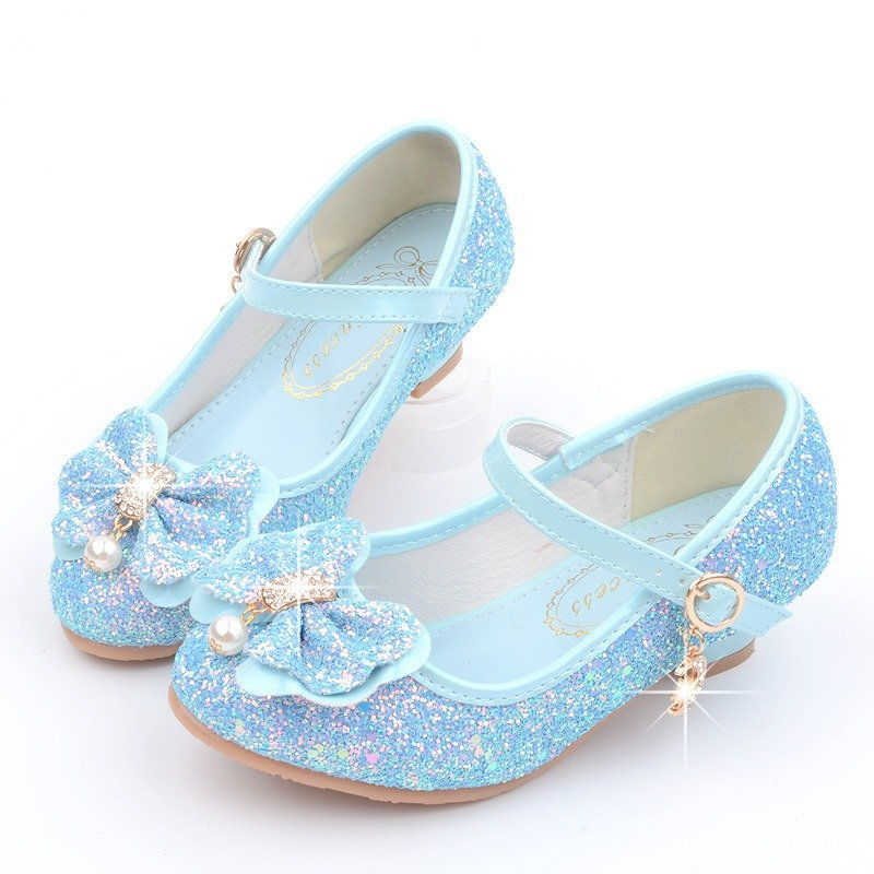 Frozenly Elsa Princess Bowknot Shining Elegant Cosplay Girl Dress Shoes