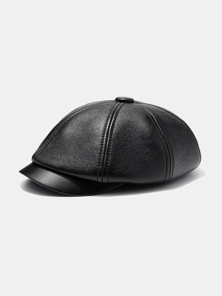 PU Berets Outdoor Warm Casual Newboy Hats