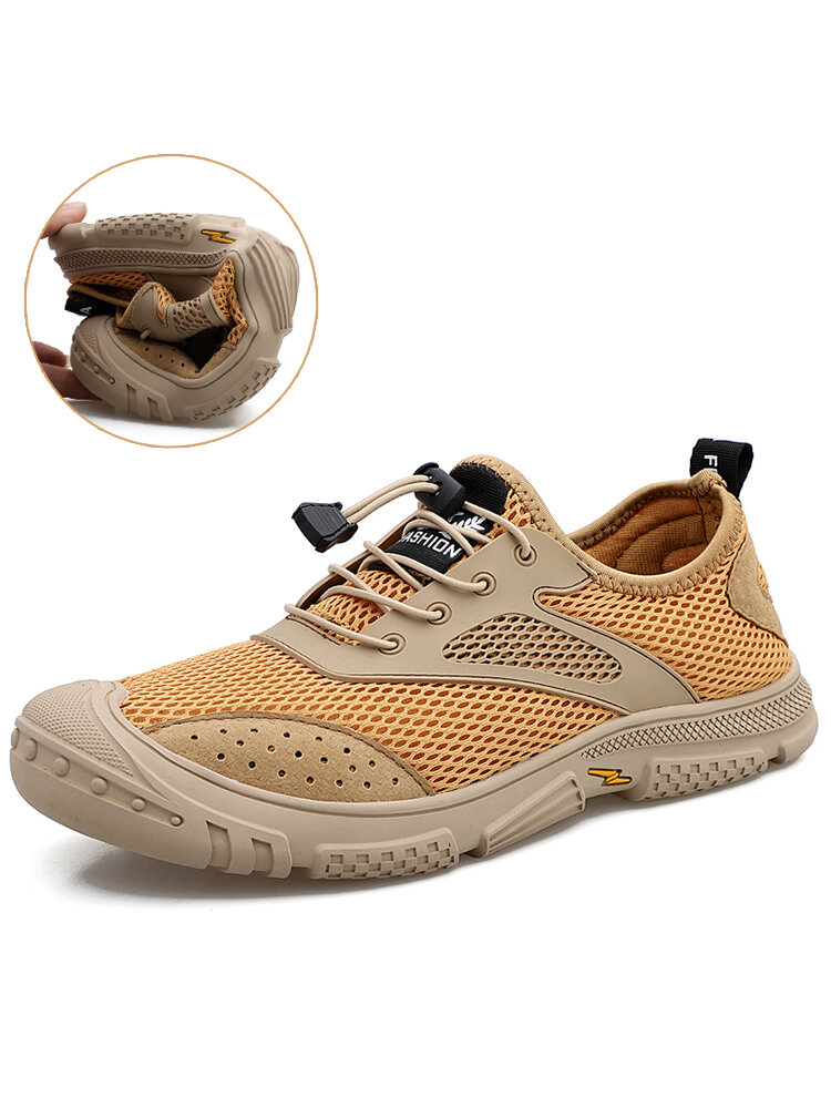 Men Non Slip Braethable Mesh Fabric Soft Lace-up Outdoor Hiking Shoes