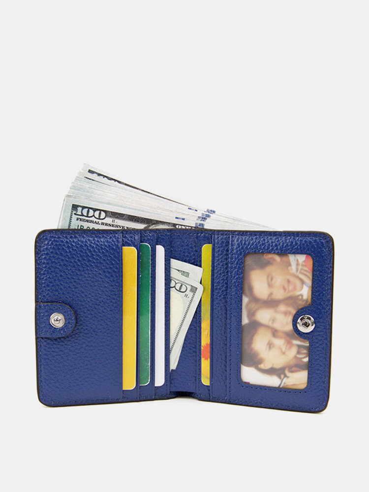 RFID Antimagnetic Thin Genuine Leather Purse Card Holder Coin Bags Short Wallet