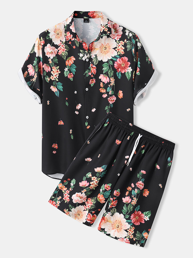 Mens Floral Print Shirt Holiday Two Pieces Outfits With Drawstring Shorts