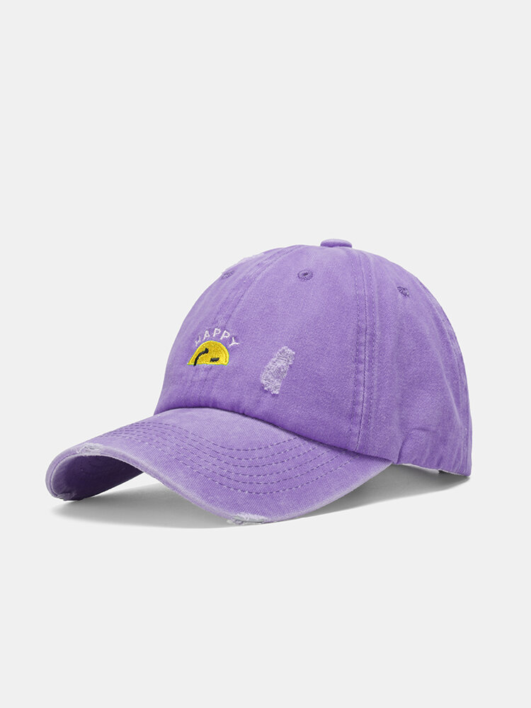 Unisex washed Made-old Cotton Solid Color Broken Hole Letter Embroidery Baseball Cap