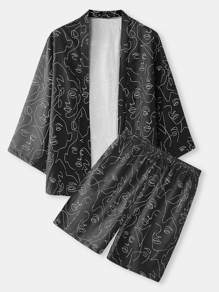 Mens Allover Abstract Face Print Open Front Kimono Two Pieces Outfits