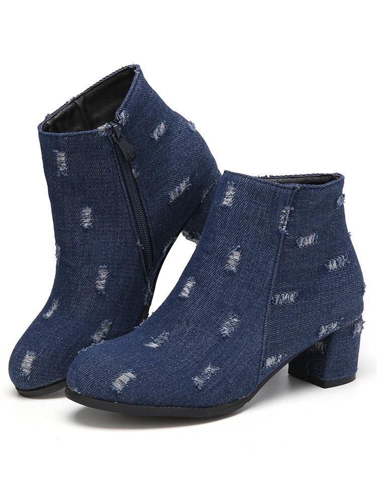 Large Size Women Denim Pointed Toe Side Zipper Warm Lining Chunky Heel Short Boots