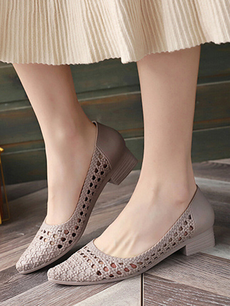 Women Casual Breathable Hollow Jelly Pointed Toe Block Heel Loafers