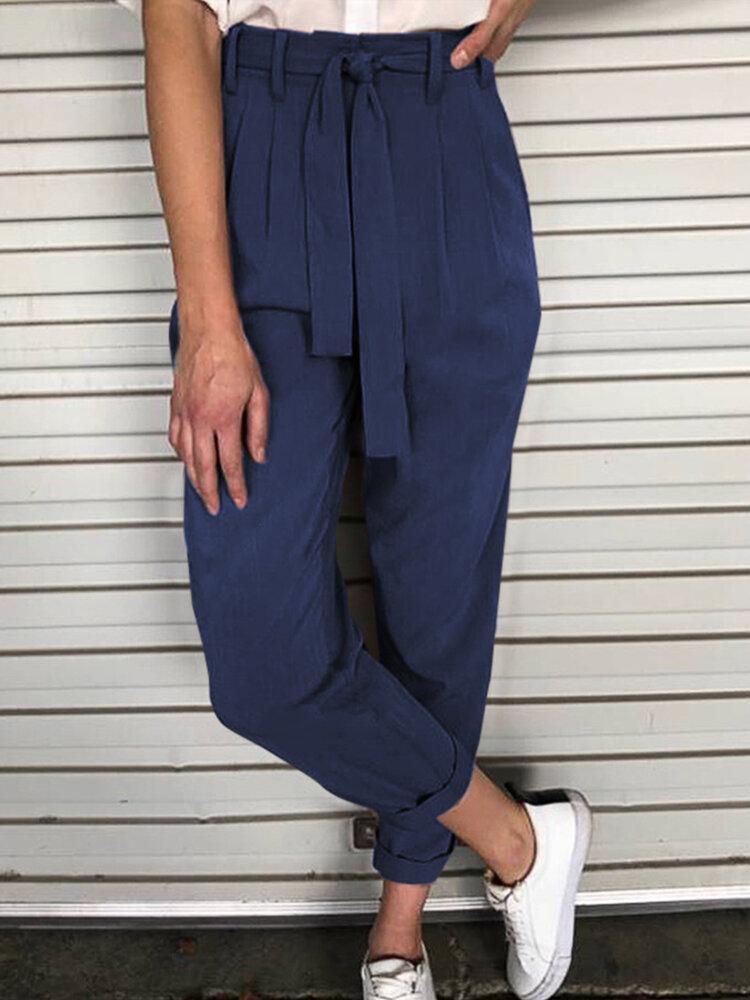 Casual Waist Belt Suit Cotton Pencil Plus Size Pants