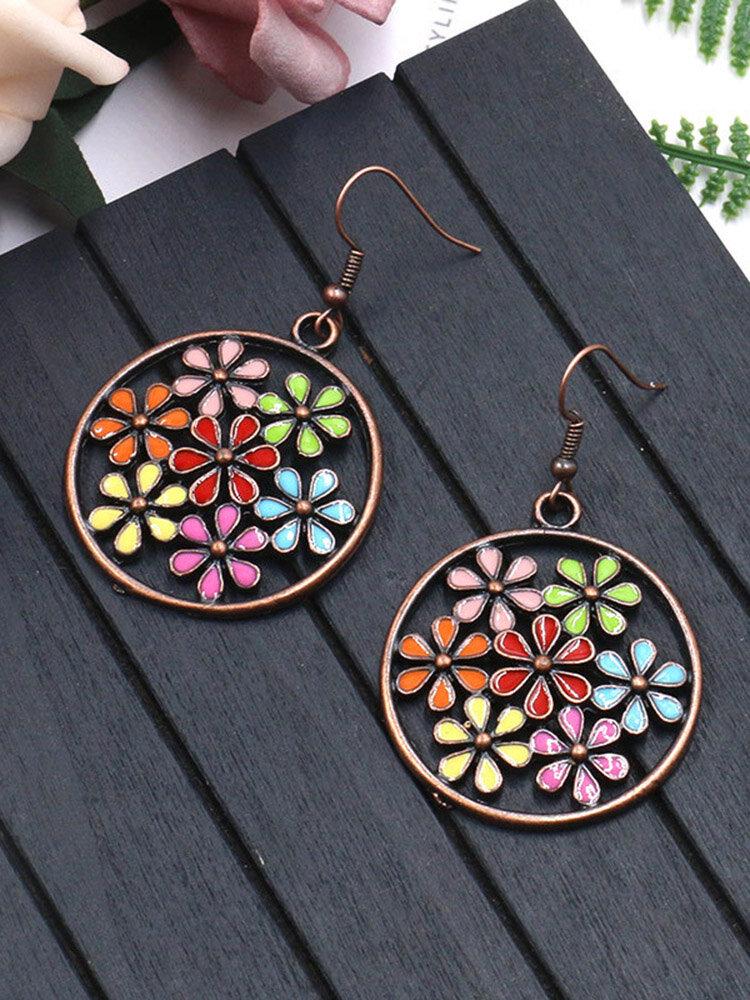Bohemian Colorful Flower Earrings Long Style Bronze Earrings For Women
