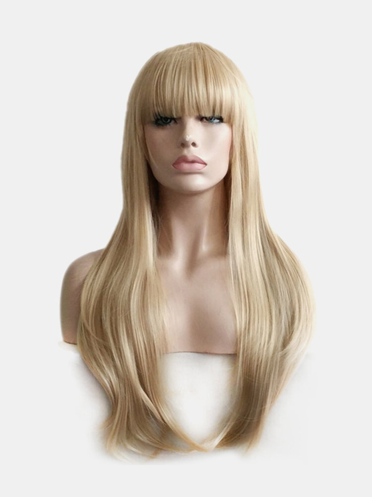 Women Long Gold Hair Wigs Fluffy Straight Bangs Super Wave Synthetic Artificial Hair