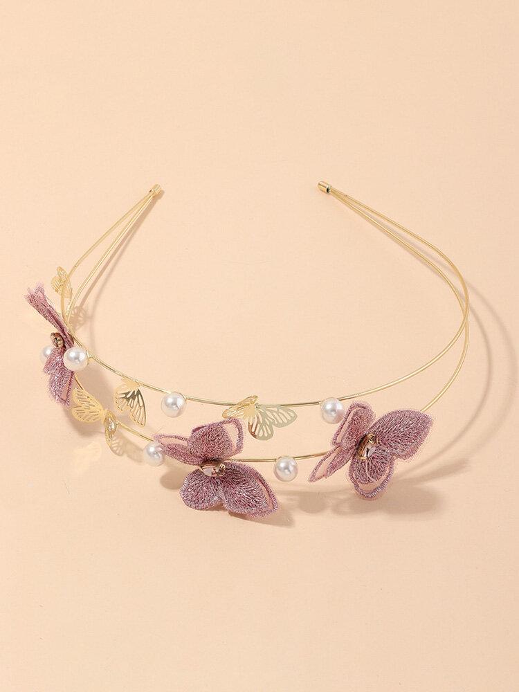 Femmes à la mode bandeau papillon violet broderie à la main perle métal évider accessoires de cheveux