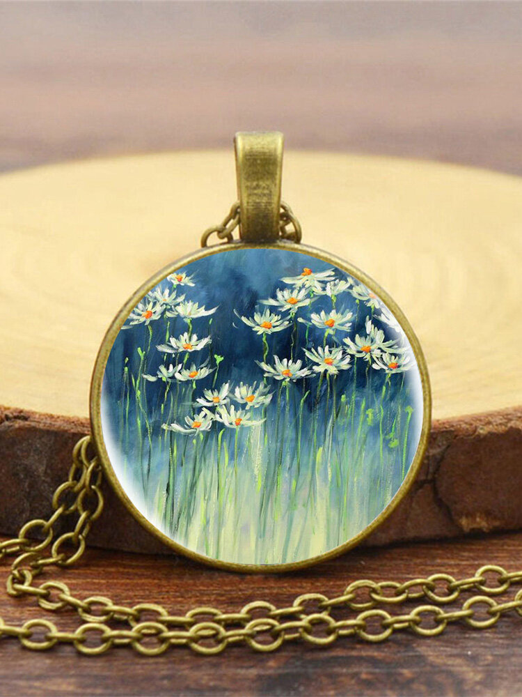 Vintage Glass Printed Daffodil Floral Pendant Necklace Women Necklace