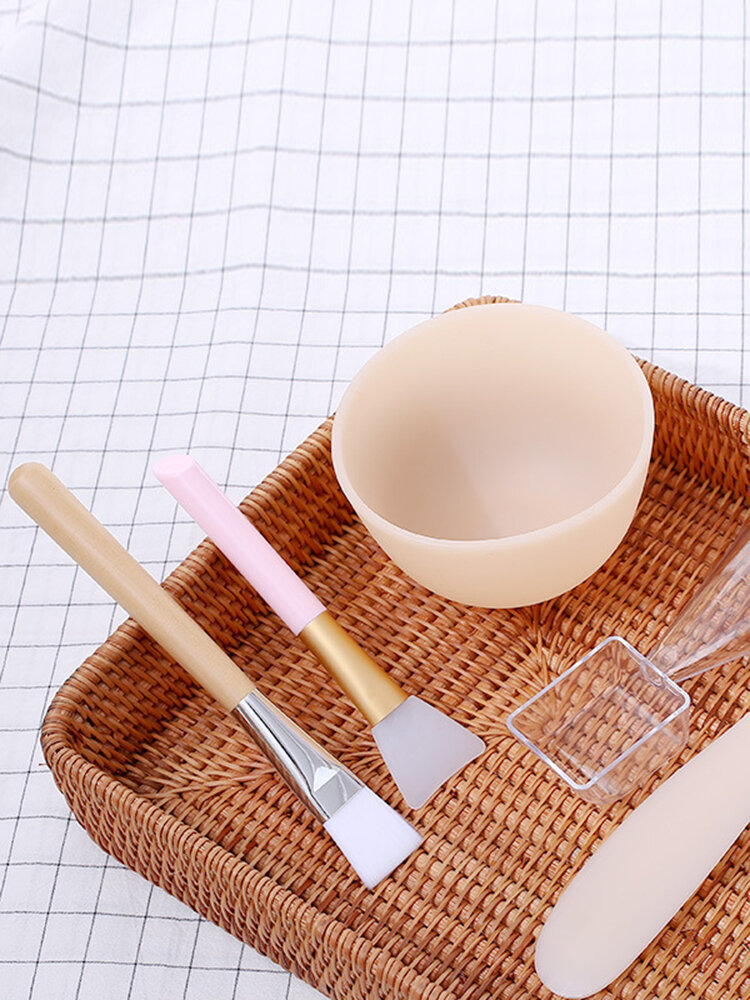 5 Pcs Homemade Mask Tool Set DIY Silicone Mask Bowl Mask Brush Measuring Spoon